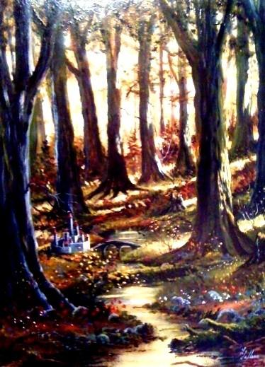 Le soleil à travers les arbres et le mystère