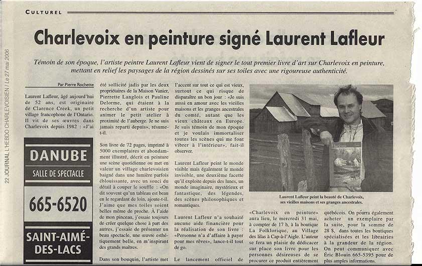 Article journal l'hebdo Charlevoisien - Laurent Lafleur