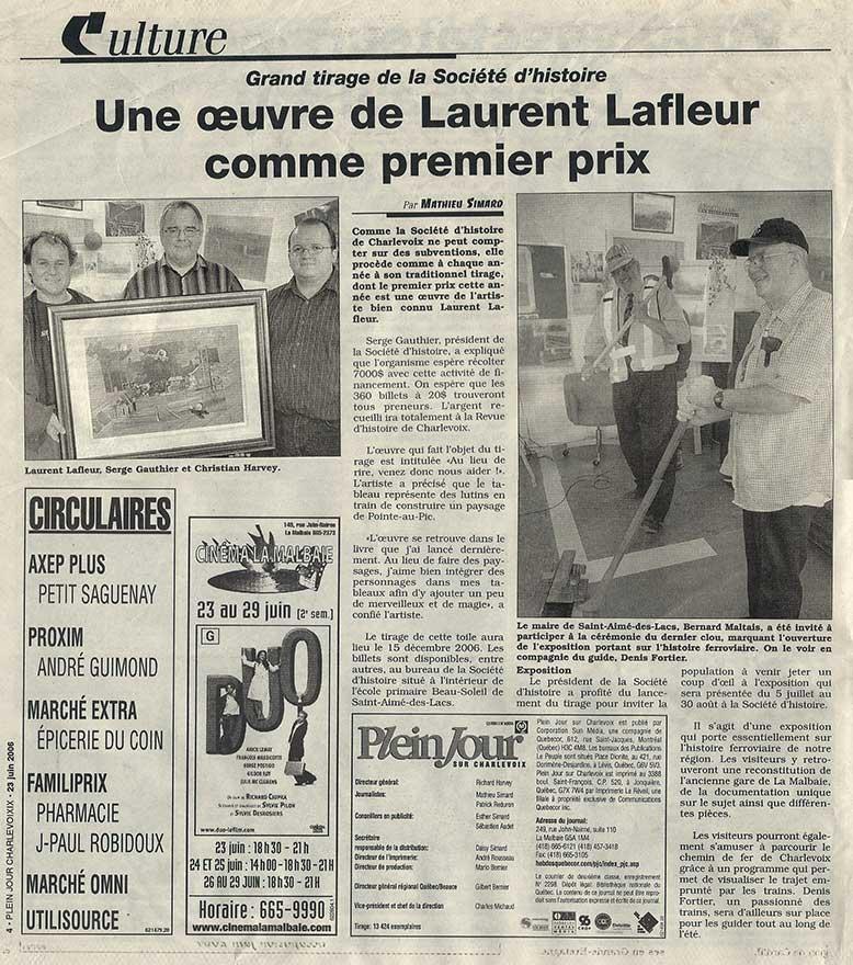 Journal Plein jour Charlevoix - Une oeuvre de Laurent Lafleur comme premier prix