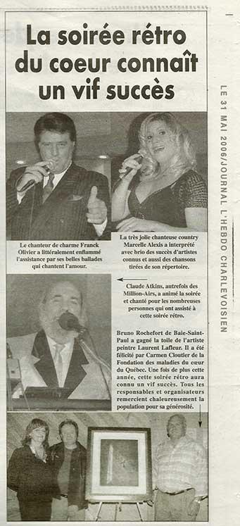 Journal L'hebdo Charlevoisien - foncation des malaidies du coeur - Laurent Lafleur