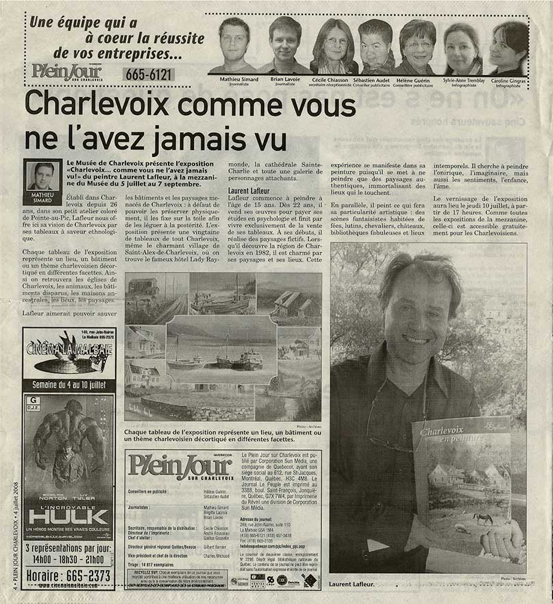 Article Journal PLein jour Charlevoix - Laurent Lafleur