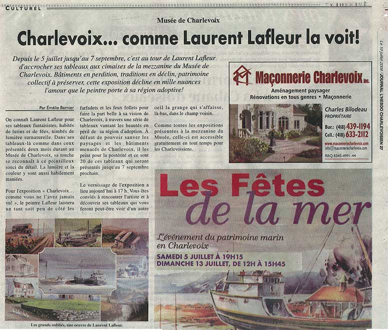 Article journal l'hebdo Charlevoisien - Laurent Lafleur
