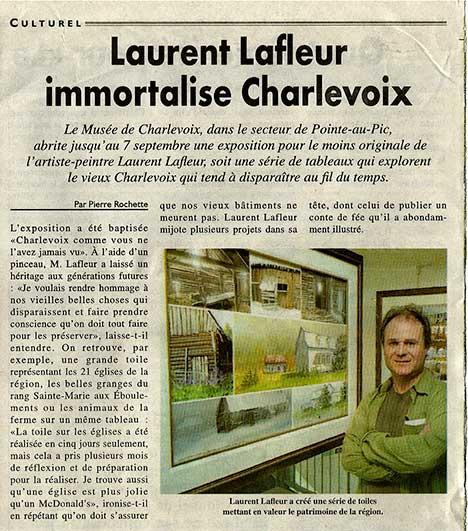 Article journal l'hebdo Charlevoisien