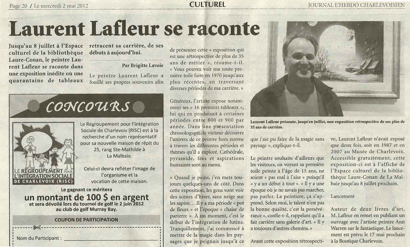 Article Laurent Lafleur se raconte