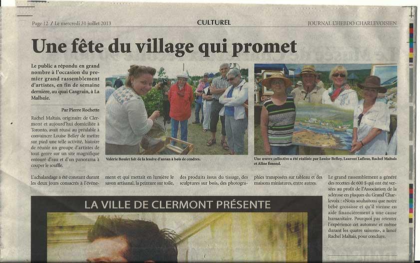Articel le Journal Hebdo Charlevoisien