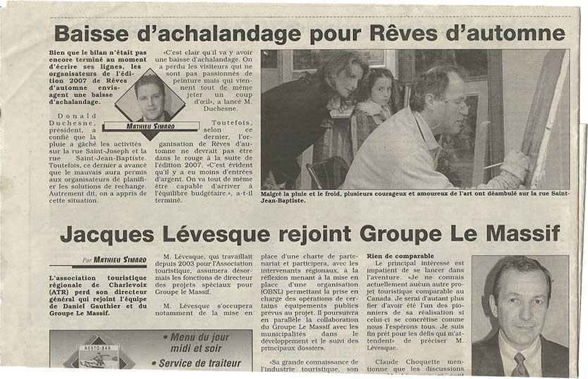 Article journal Plein jour Charlevoix