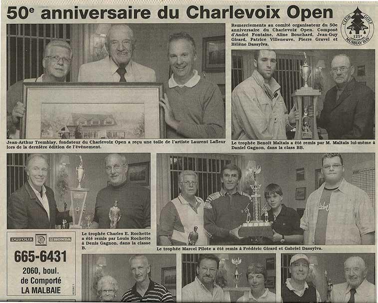 article journal l'hebdo Charlevoisien remise d'une toile de Laurent Lafleur