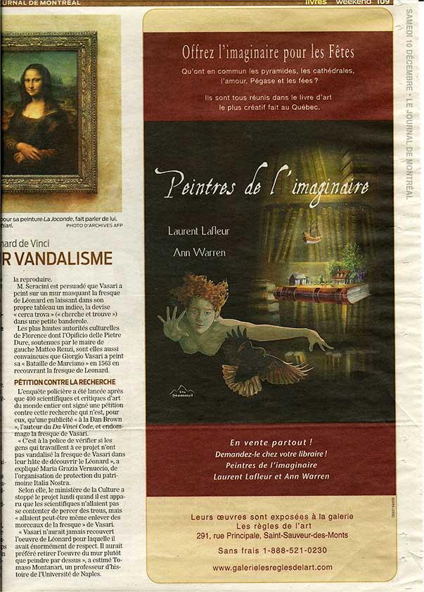 Publicité journal de Montréal Peintre de l'imaginaire Laurent Lafleur Ann Warren décembre 2011