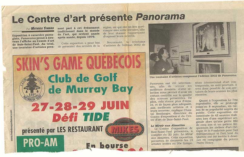 Journal hebdos Québecor - Exposition Panorama 2002
